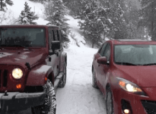Jeep v Mazda in snow